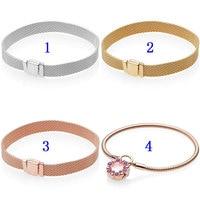 Rose Gold Shine Woven Mesh Reflexions Heraldic Radiance Bracelet Fit Pandora Bangle 925 Sterling Silver Bead Charm DIY Jewelry