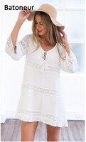 Femmes Blanc Dress Dentelle Casual Sexy Cut Out Robes D'été Style Resort Porter pas cher vêtements chine curto robe de festa