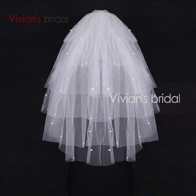 Two Layer Short Wedding Veil Bead Edge Bride Veil Mariage Wedding Accessories