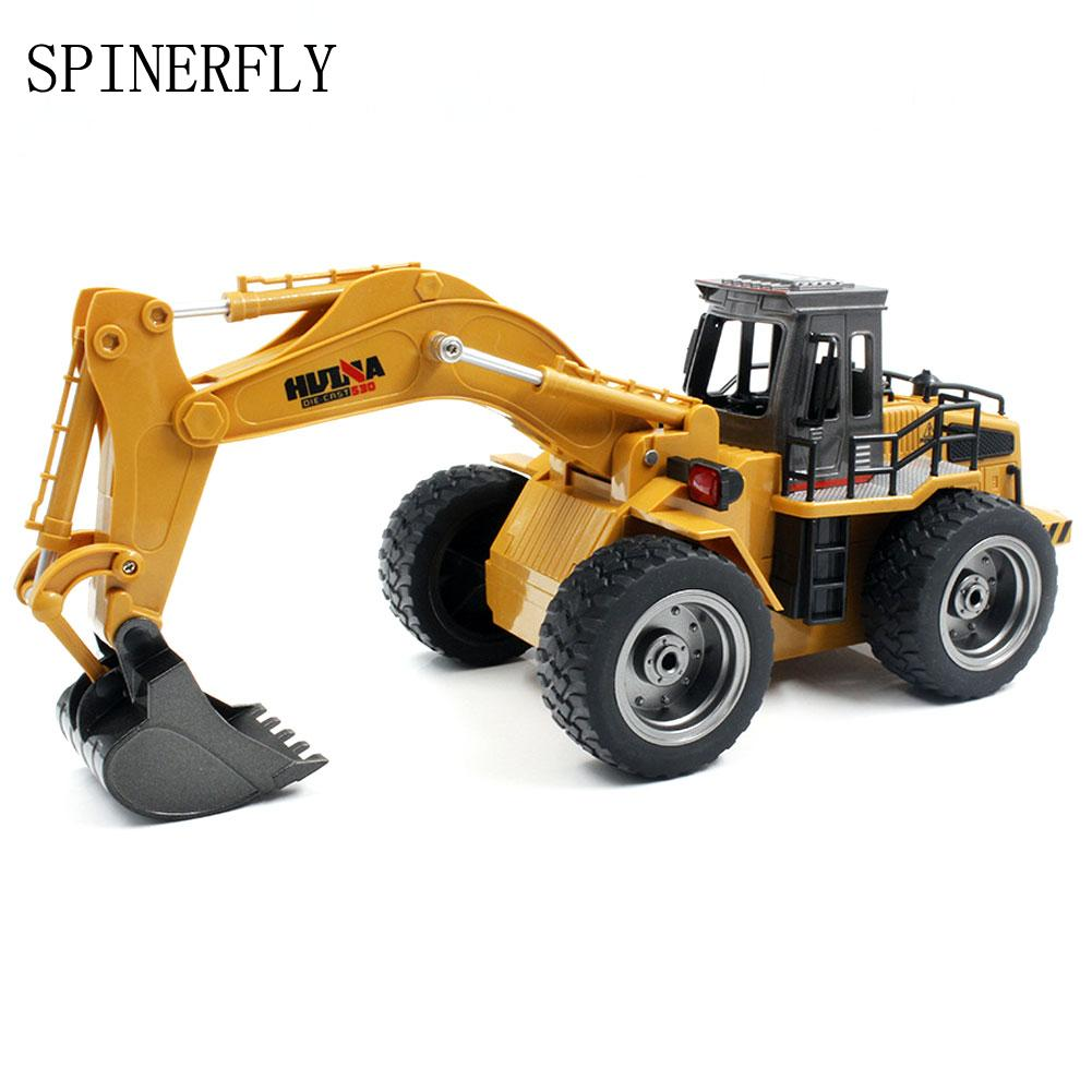 1/18 6CH RC Alloy Dump Truck Reinforced Alloy Rotate RC Excavator Engineering Car Full Functional Remote Control Cars Boys Gifts