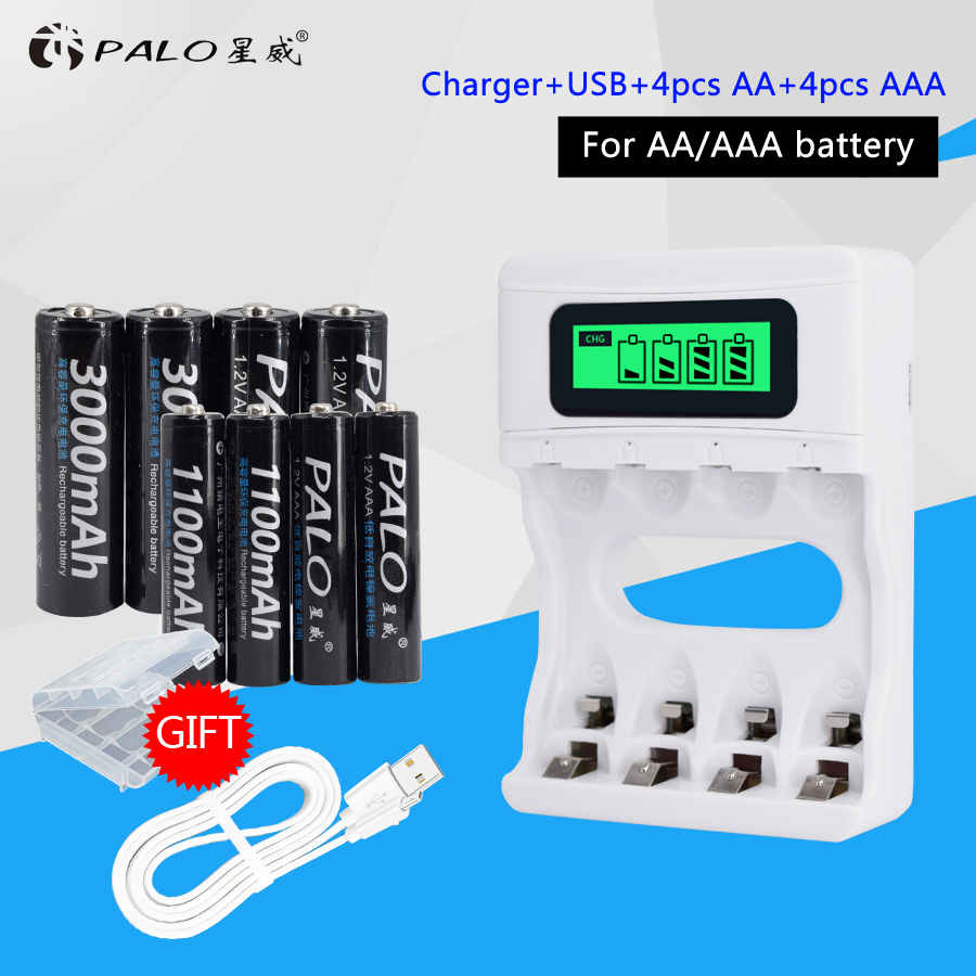 Smart LCD Display USB Battery Charger For Ni-Cd Ni-Mh AA AAA Rechargeable Batteries+4pcs AA Batteries+4pcs AAA Batteries