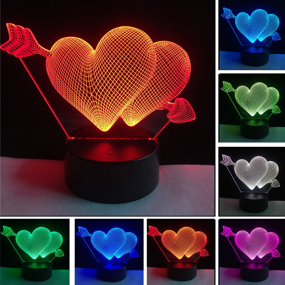 3D Arrow Through the Heart LED Night Light Romantic Lamp Lighting Lamp Wedding Decoration Lovers & Couple & Sweetheart Best Gift classic candlestick hollow iron art lamp for romantic wedding home decoration