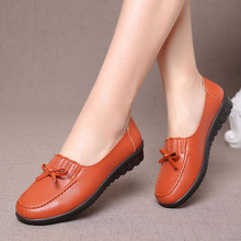 New Women Leather Shoes Moccasins Mother Loafers Soft Leisure Flats Female Driving Casual Footwear Creepers Bow Lady Shoes