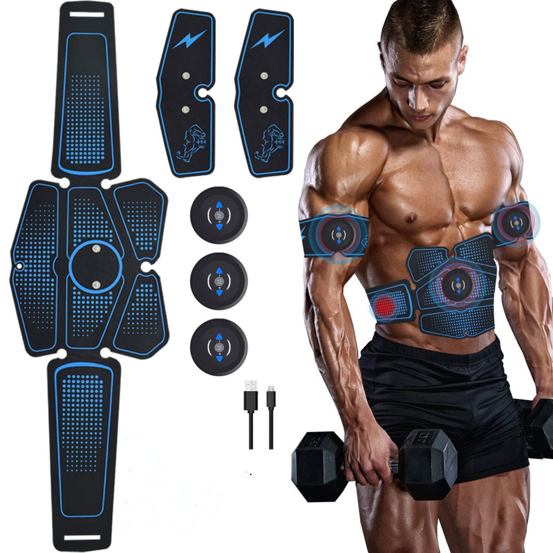 Abdominal Muscle Massager Trainer EMS Abs Fitness Equipment Training Gear Muscles Electrostimulator Toner Exercise Home Gym