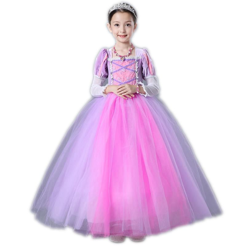 Baby Sofia Cosplay Costume for Girls Dress Kids Halloween Birthday Party Princess Tutu Dresses Children Fancy Ball Gown Clothes moeble 2017 baby witch costume halloween girl tutu dress kids fancy clothing for party handmade children tulle tutu dresses