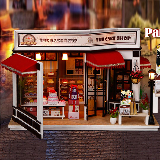 Maison de poupée Diy Dollhouse Miniature Main Miniaturas Casa De Boneca Pour L'anniversaire De Noël Cadeaux Poppenhuis Gâteau Journal