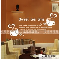 Coffee Shop Wall Sticker Quote Lettering Sweet tea time sweet tea Coffee Mural Wall Decal Coffee Shop Window Glass Decoration