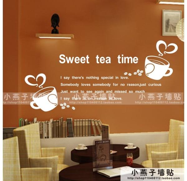 Citaten Koffie English : Koffie winkel muursticker citaat belettering zoete thee tijd zoete