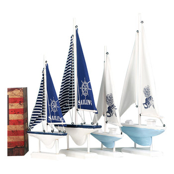Home Decor Wood White Sailboat Figurines Mediterrean Style Wooden Stripe Ship Home Office Desktop Miniature Marine Sailing Boats