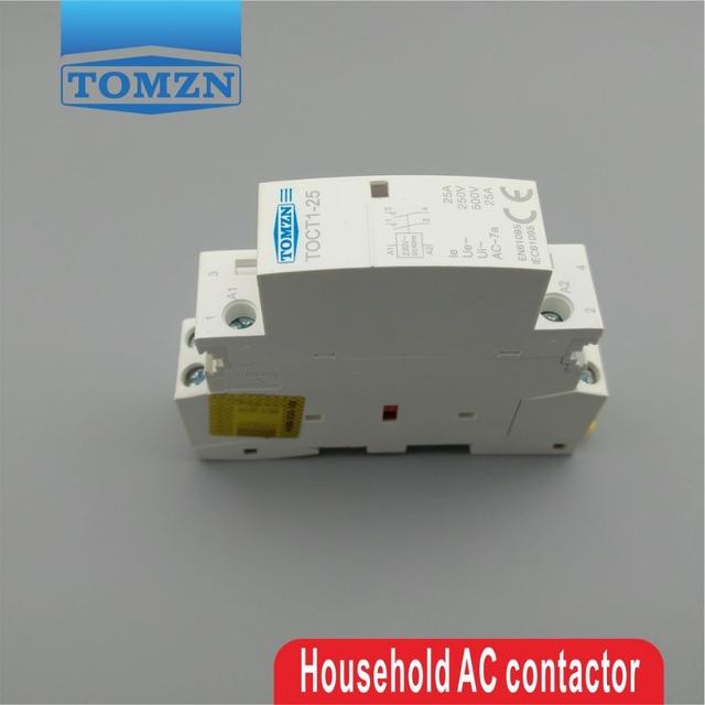 CT1 2P 25A 220V/230V 50/60HZ Din rail Household ac Modular contactor 2NO