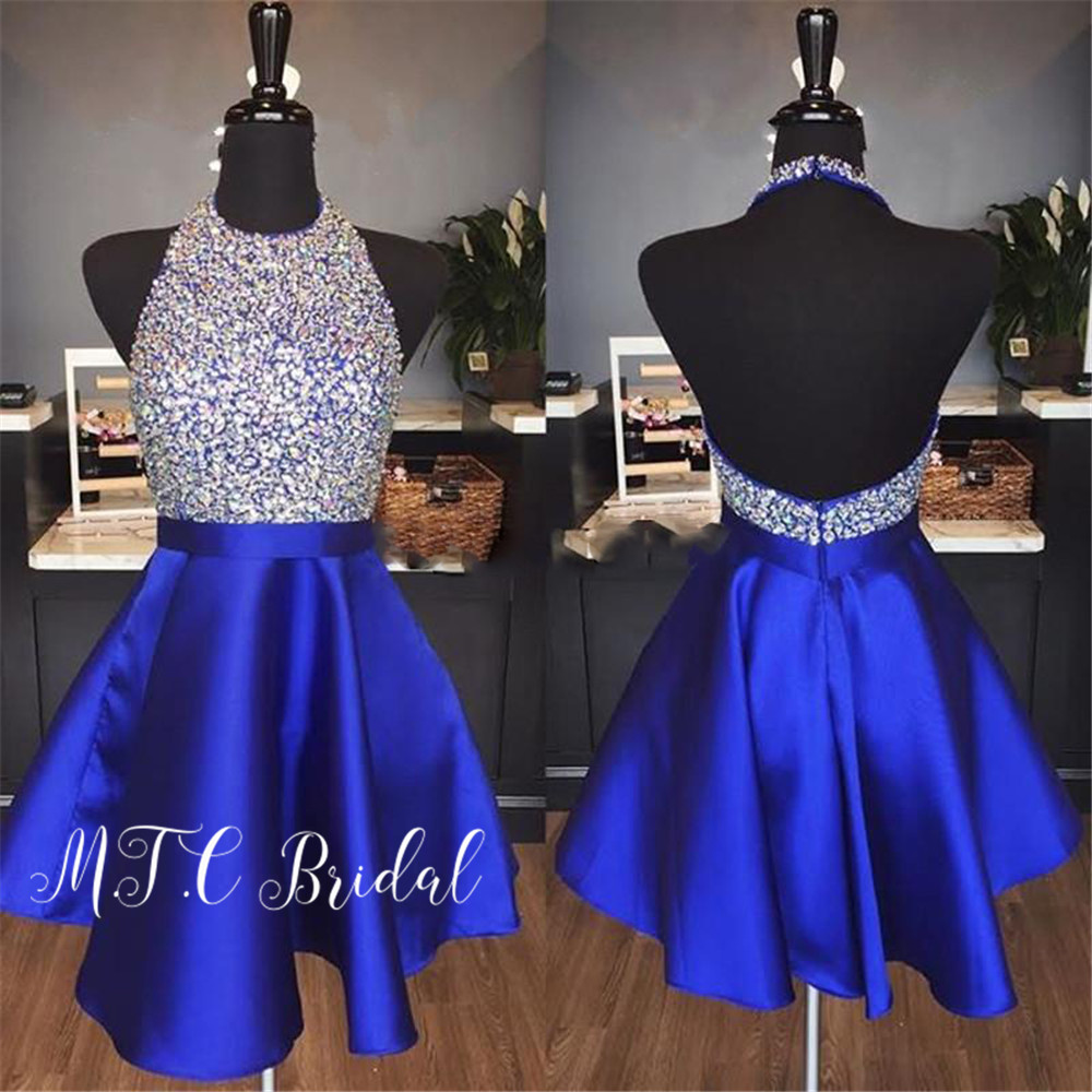 Glitter Crystals Royal Blue Short Prom Dresses Backless Halter A Line Satin Wedding Party Gowns 2019 Hot Selling Women Dress