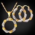 2 Tono Plateado Set Collar Pendiente de Las Mujeres Pendiente Chapado En oro Nuevo Regalo Redondo Para Las Mujeres de Moda Conjunto PE211