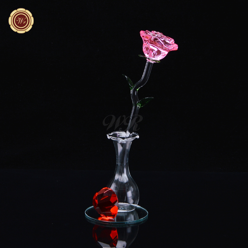 Online buy wholesale flower girl gift ideas from china flower girl wr pink love crystal rose glass rose new year holidays rose anniversary gift ideas home table dhlflorist Image collections