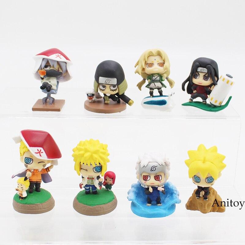 Anime Naruto Shodai Hokage Senju Tobirama Hiruzen Minato Tsunade Shimura Danzou Kakashi PVC Action Figure 8pcs/set anime naruto hatake kakashi pvc action figure collectible toy 24cm ntfg078