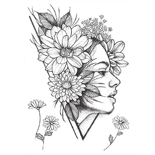 1 PC Fashion Women Girl Temporary Tattoo Sticker Black Roses Design Full Flower Arm Body Art Big Large Fake Tattoo Sticker 4