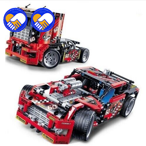 A toy A dream 608pcs Race Truck Car 2 In 1 Transformable Model Building Block Sets Decool 3360 DIY Toys Compatible Technic 42041 decool 3360 race truck building toys for children toy set boy car racers car gift compatible with lepin bela 8041