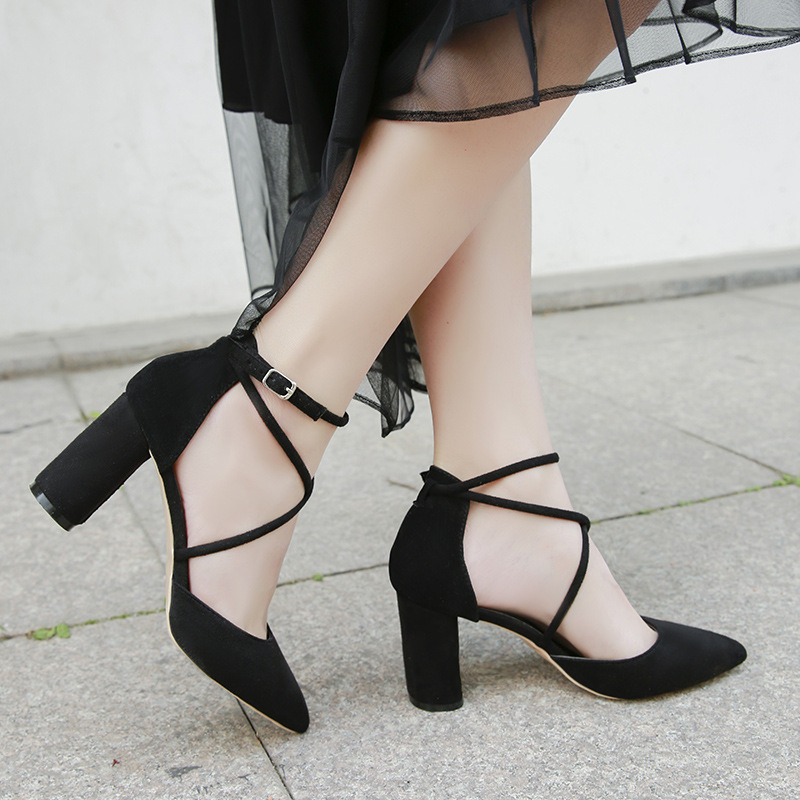 EOEODOIT 2019 Spring Autumn High Heel Pumps Shoes Pointy Toe Cross Buckle Square Heels 8 Cm Women Summer Sandals