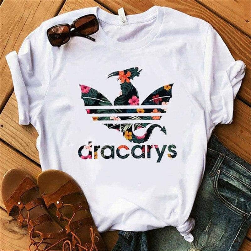 Showtly Dracarys GAME OF THRONE Female   T     Shirt   Women Summer Dragon Print White Casual Plus Size Streetwear Fashion   T     shirt