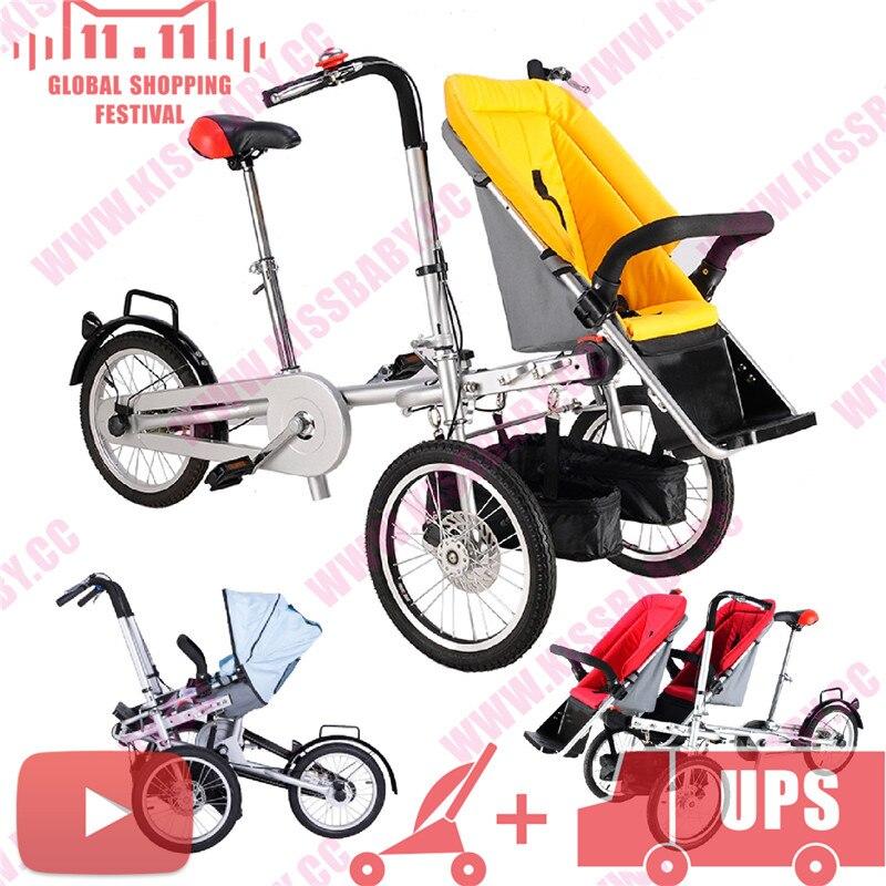 f030e7b06 Taga bicicleta cochecito bebé triciclo mamá viaje bicicleta poussette 3 en 1  padre chico gemelos doble cochecito remolque en Cochecito de tres ruedas de  ...