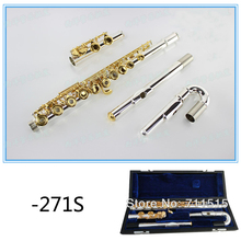 271S Professional Brand flute type small elbow the 16 key hole openings C Flute Silver body gold keys instrument flauta