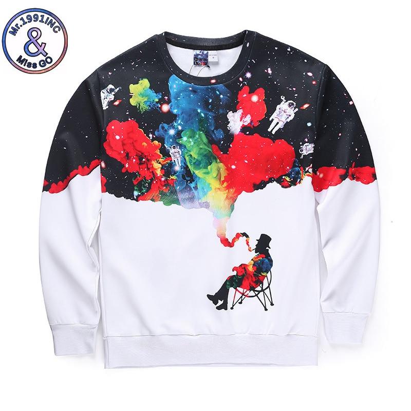 Sweatshirt Men White Long Sleeve Galaxy Men Smoking Print 3D Hoodies Men Winter Pullovers Funny Brand Streetwear Clothing in Hoodies amp Sweatshirts from Men 39 s Clothing