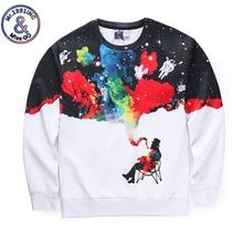 2017 Autumn Sweatshirt Men white Long Sleeve galaxy men smoking print 3D hoodies Winter Pullovers Funny Brand Clothing