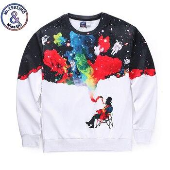 Sweatshirt Men White Long Sleeve Galaxy Men Smoking Print 3D Hoodies Men Winter Pullovers Funny Brand Streetwear Clothing