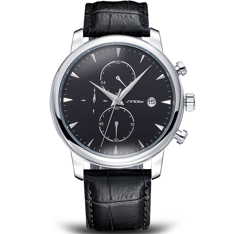 SINOBI Chronograph Men Watches Black Genuine Leather Luxury Brand Watch for Men Business Watches font b
