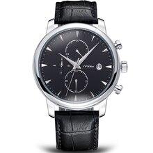 Los hombres del cronógrafo relojes sinobi negro reloj de la marca de lujo del cuero genuino para los hombres de negocios relojes relojes hombre marca famosa