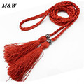 women's plaited thin belt Fashion all-match sikilly eco-friendly casual waist rope cashmere leather feather