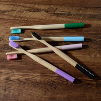 50 Pack Wholesale Bamboo Toothbrush Soft Bristles Biodegradable Plastic Free Tooth Brush Bamboo Fibre Wooden Handle Logo Custom