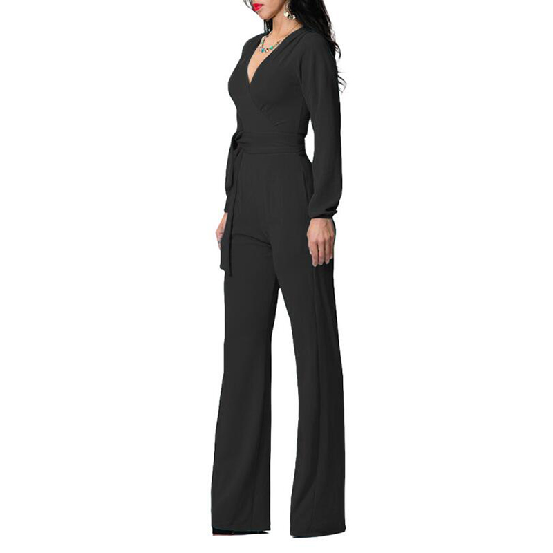 Sexy v neck long jumpsuit for women long sleeve casual plus size women jumpsuits fashion solid loose female jumpsuits with belt