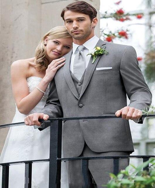 2018 Grey Suit Mens Wedding Suits Notched Lapel Mens Wedding ...