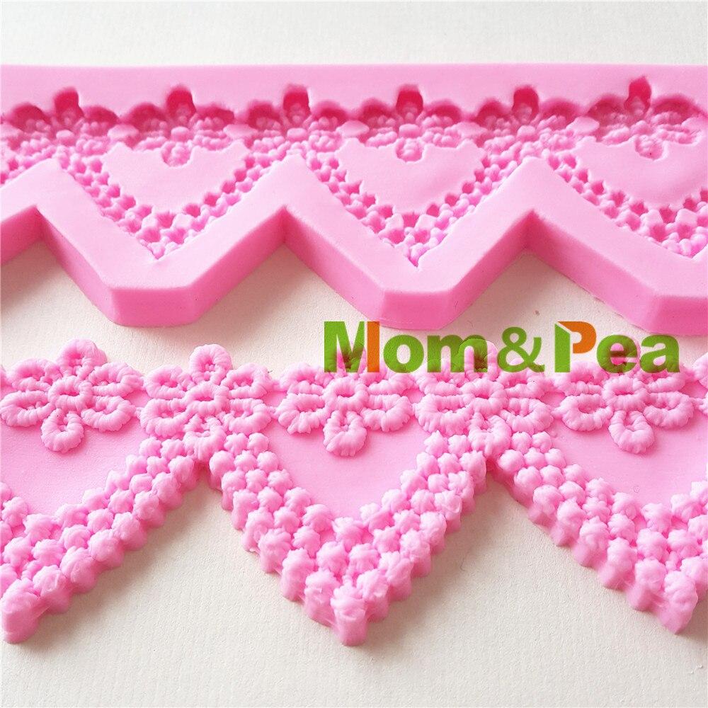 Mom&Pea 1290 Free Shipping Swag Lace Silicone Mold Cake Decoration Fondant Cake 3D Mold Food Grade