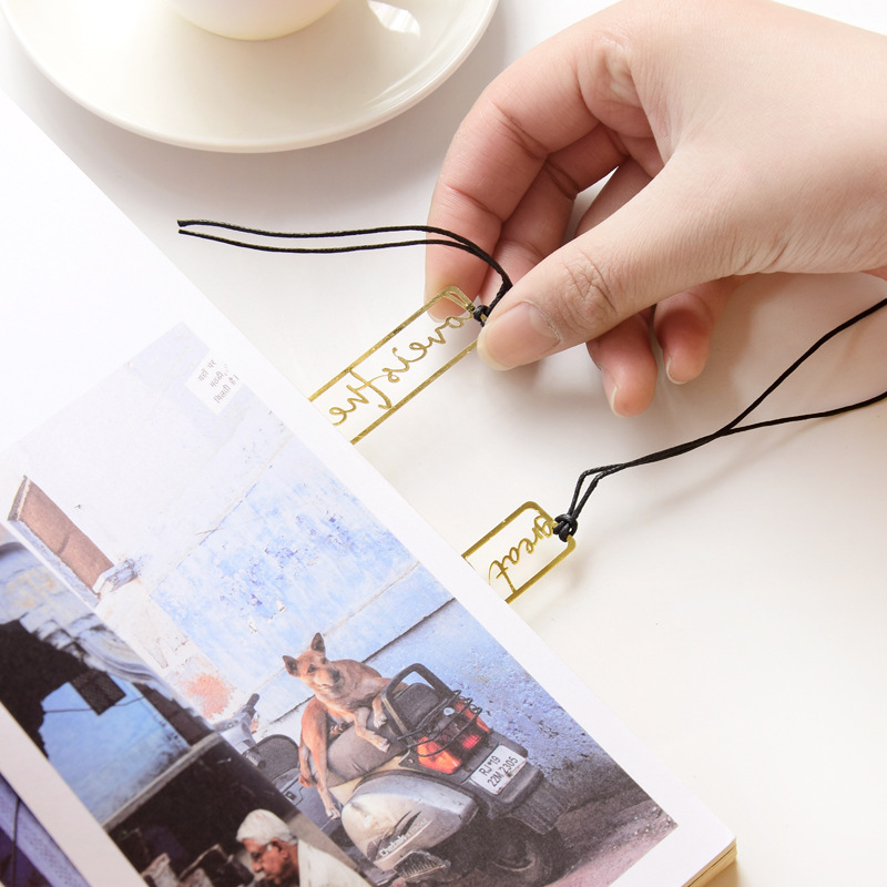 1 Pcs Metal Bookmark Hollow English Book Mark Metal Bookmark School Office Supplies Stationery