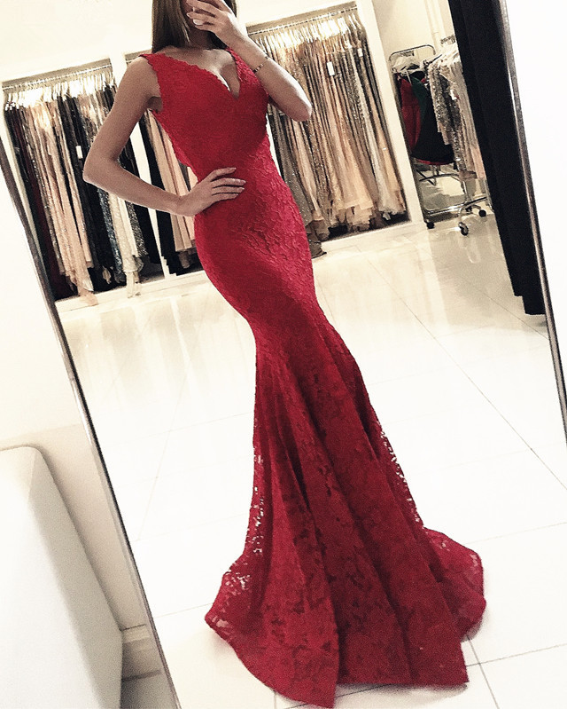 Burgundy 2019   Prom     Dresses   Mermaid Deep V-neck Lace Sexy Women Party Maxys Long   Prom   Gown Evening   Dresses   Robe De Soiree