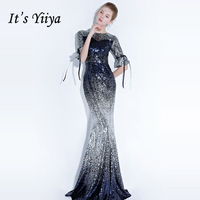 It's YiiYa   Evening     Dress   2018 Shiny Sequin Contrast Color O-neck Bow Trumpet Floor-length Dinner Gowns LX1313 robe de soiree
