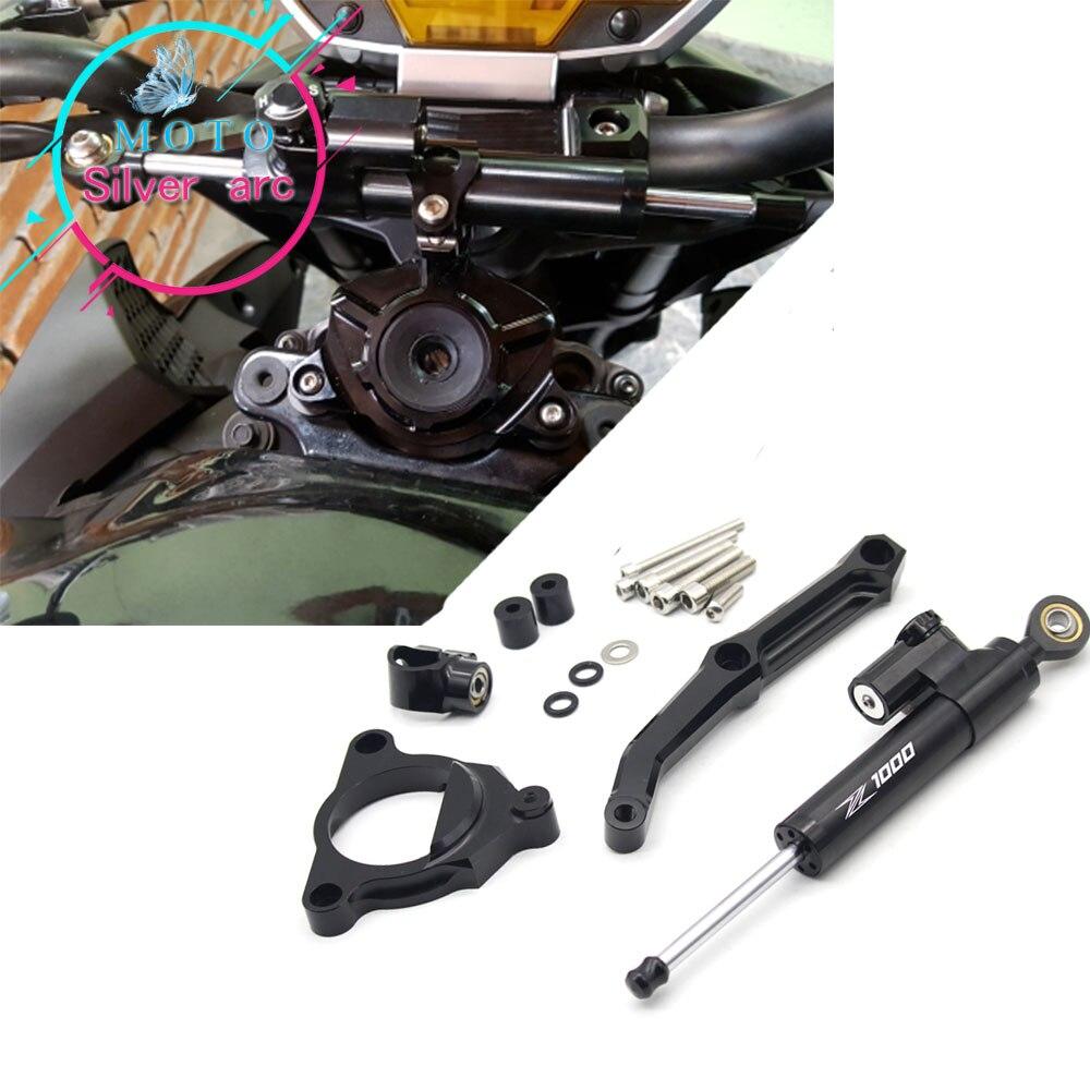 Aluminum Motorcycles Steering Stabilize Damper Bracket Mount Kit FOR KAWASAKI Z1000 2010-2013 2012 2011 cnc aluminum adjustable steering stabilize damper bracket mount kit fit for kawasaki z1000 2010 2013