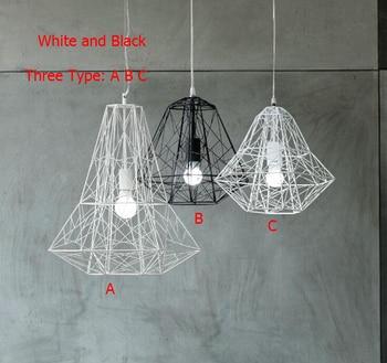 Modern Wrought Iron Bird Cage Pendant Light American Retro Industrial LOFT Bar Lamp Hanging Minimalst Geometric Fixtures110-240V