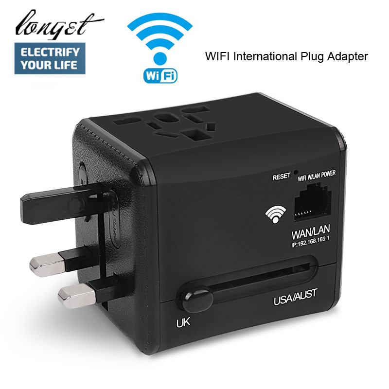 LONGET WiFi International Travel Power Adapter Plug Converter All in One Dual 2.4A USB Universal Wall Charger for UK/EU/AU& Asia all in one universal international plug adapter 2 usb port world travel ac power charger adaptor with au us uk eu converter plug