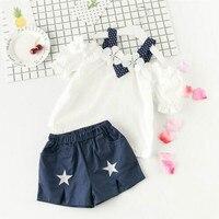 5a180 Moda Bebek Kız Giyim Setleri 2 adet Üst + Şort Prenses Çocuk Giyim Setleri toptan çocuklar yürümeye başlayan giysi