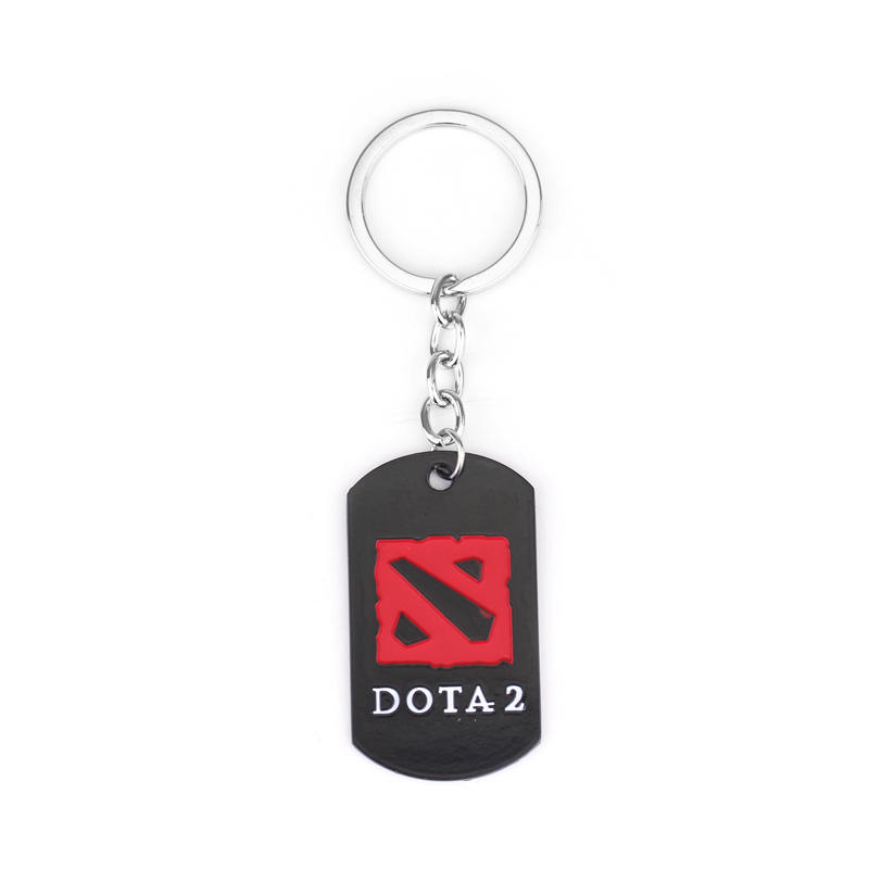 Famous Online Game DOTA 2 Mark Keychain Black Red Enamel Geometri Pendant Keychain Dota 2 Logo Keyring for Car Key Chain Ring
