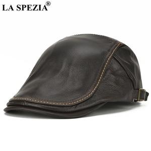 Image 2 - LA SPEZIA סתיו חורף כובעים שטוחים גברים חום מתכוונן מקור ברווז כובעי זכר אמיתי עור פרה עור קלאסית high end נהיגה Caps