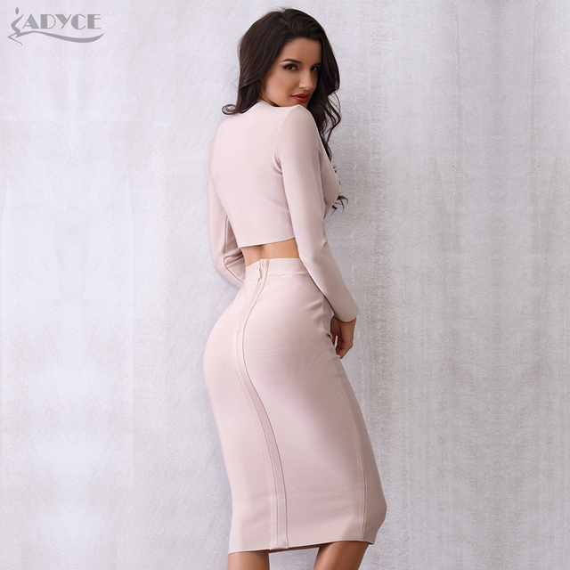 Autumn Bandage Crop Tops&Skirt 2 Two Pieces Set Night Out Celebrity Evening Party Dress Set 4