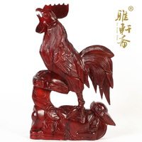 V wood carving wood carving crafts mahogany Chicken Rooster Ruyi lucky office gift ornaments