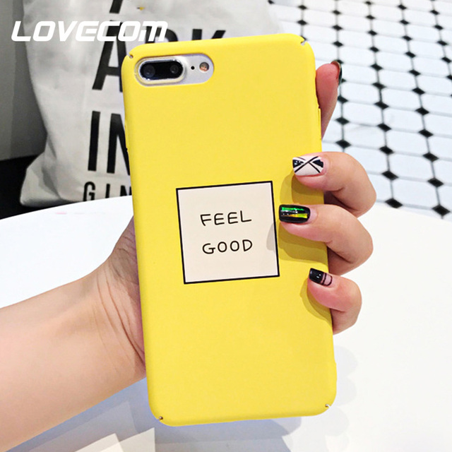 super popular b9b90 58ec4 US $1.99 |LOVECOM English Letter Yellow Hard PC Matte Phone Case For iPhone  7 8 Plus X XS MAX XR For iPhone 6 6S Plus Bags-in Fitted Cases from ...