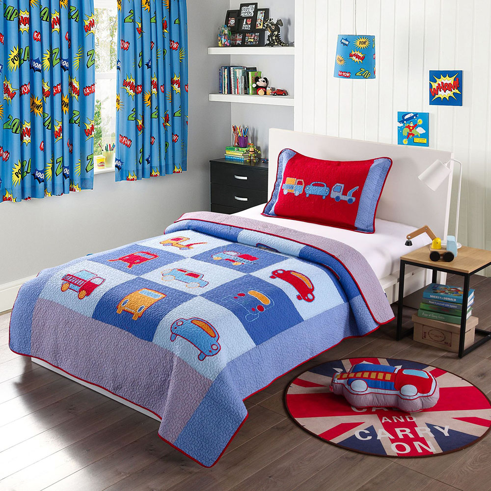 CHAUSUB Kids Bedspread Cotton Quilt Set Boys Coverlet 2pcs Car Applique Quilts Patchwork Quilted Bed Cover Twin Size Blanket-in Quilts from Home & Garden    1