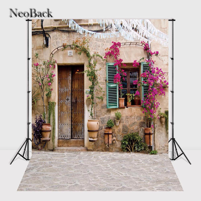 NeoBack 5x7ft Floral Window Door Backgrounds Photography Backdrops Photo Studio Vinyl Printed Photo background P2394