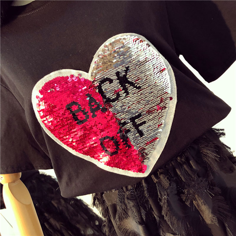 Chic Girls Graffiti Reversible Sequins T-shirt Letters beads Shirts magical color changing Sequined Tees Discoloration Tops Gift image
