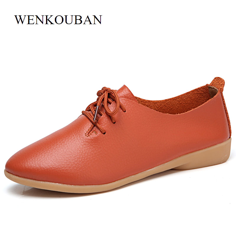 Genuine Leather Shoes Women Flats Oxford Shoes Summer Slip On Loafers Moccasins Ladies Casual Shoes Zapatos Mujer Size 35-44 soft pu leather red flat shoes 2018 spring zapatos mujer women flats shoes casual superstar ladies home slip on shoes for women